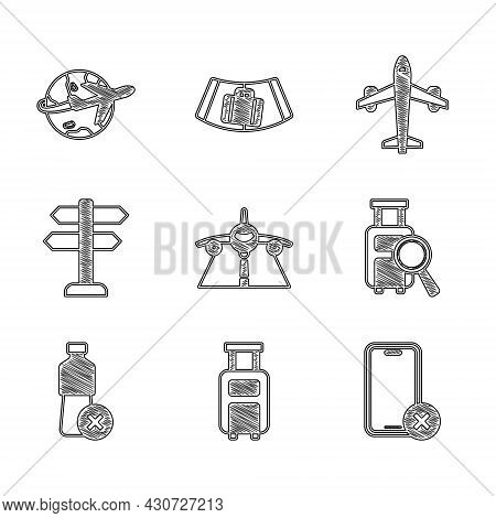 Set Plane, Suitcase, No Cell Phone, Lost Baggage, Water Bottle, Road Traffic Sign, And Globe With Fl