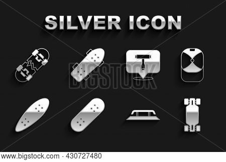 Set Skateboard, Baseball Cap, Longboard Or Skateboard, Stairs With Rail, T Tool, Broken And Icon. Ve