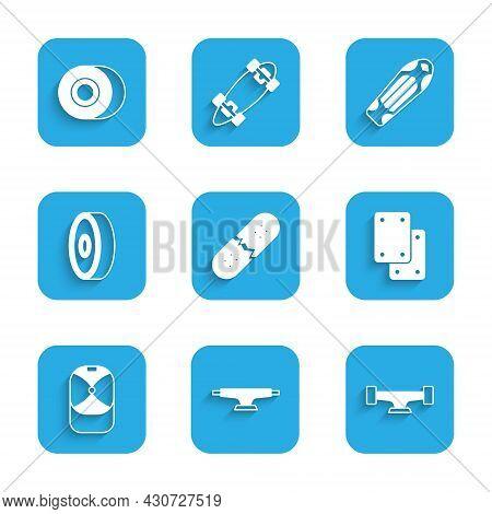 Set Broken Skateboard Deck, Skateboard Wheel, Knee Pads, Baseball Cap, Bearing, And Icon. Vector
