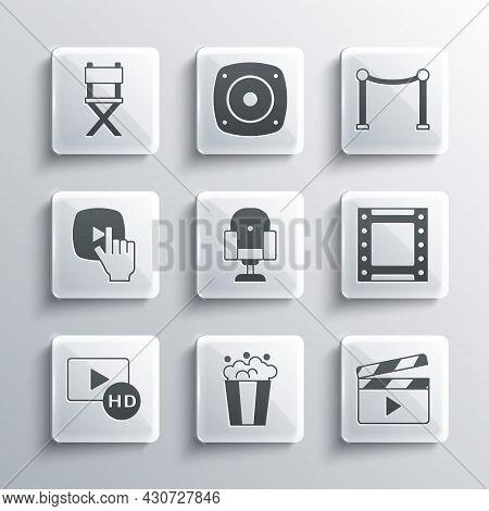 Set Popcorn In Cardboard Box, Movie Clapper, Play Video, Director Movie Chair, Hd Movie, Tape, Frame