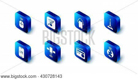 Set No Wi-fi Wireless Internet, Cloud Technology Data, Antenna, Global, Radio, Satellite, Lte Networ