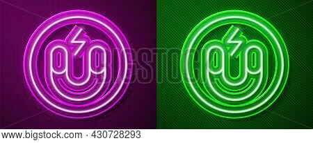 Glowing Neon Line Magnet Icon Isolated On Purple And Green Background. Horseshoe Magnet, Magnetism,