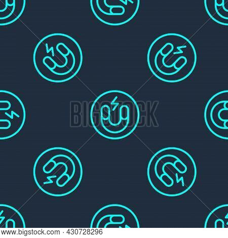 Green Line Magnet Icon Isolated Seamless Pattern On Blue Background. Horseshoe Magnet, Magnetism, Ma