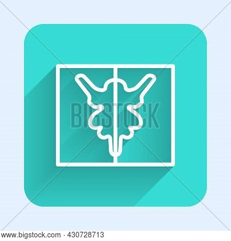 White Line Rorschach Test Icon Isolated With Long Shadow Background. Psycho Diagnostic Inkblot Test