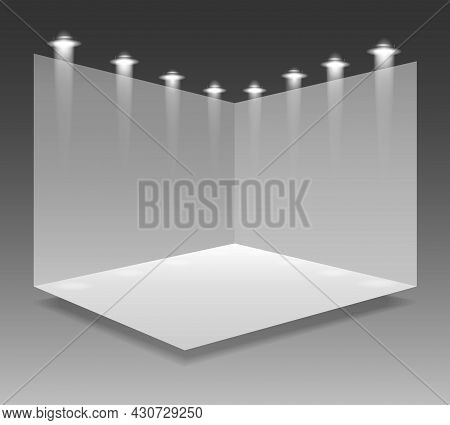 Expo Stand 3d. Event Interior Light Room Isolated Vector Illustration, White Panels Standing Exhibit