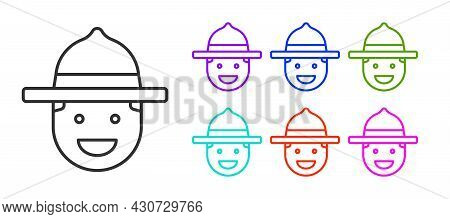 Black Line Canadian Ranger Hat Uniform Icon Isolated On White Background. Set Icons Colorful. Vector