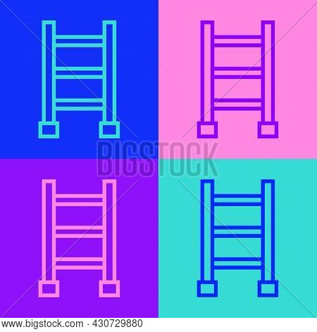 Pop Art Line Fire Escape Icon Isolated On Color Background. Pompier Ladder. Fireman Scaling Ladder W