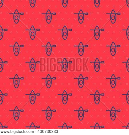 Blue Line Kayak And Paddle Icon Isolated Seamless Pattern On Red Background. Kayak And Canoe For Fis