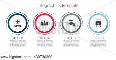 Set Drought, Bottle Of Wine, Tap For A Barrel And Fermentation Grapes. Business Infographic Template