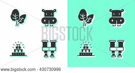 Set Binoculars, Tropical Leaves, Chichen Itza Mayan And Hippo Or Hippopotamus Icon. Vector