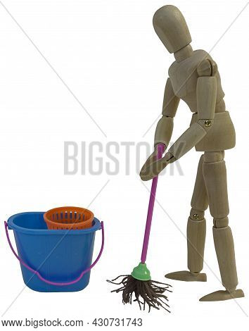Mopping The Floor With A Traditional Mop To Make It Clean