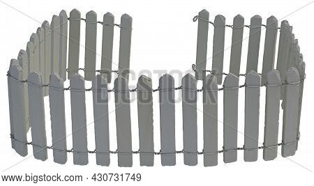 A While Picket Fence Intertwined With Wire