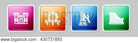 Set Line Castle, Roller Coaster, Striker Attraction With Hammer And . Colorful Square Button. Vector