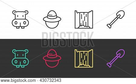 Set Line Hippo Or Hippopotamus, Camping Hat, Waterfall And Shovel On Black And White. Vector