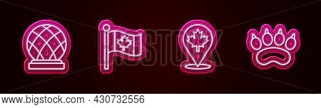 Set Line Montreal Biosphere, Flag Of Canada, Canadian Maple Leaf And Bear Paw Footprint. Glowing Neo