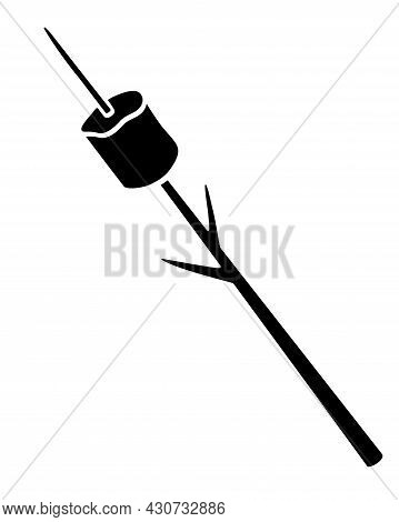 Marshmallows Strung On A Frying Stick - Vector Silhouette Illustration For Logo Or Pictogram. Marshm