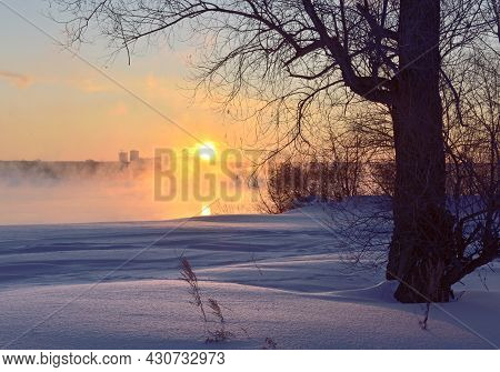 The Bright Sun Above The Horizon, The Trunk And Bare Branches Of A Tree On The Ob River In The Early
