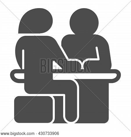 Couple Sitting At The Table, Date Solid Icon, Dating Concept, Man And Woman Dating Vector Sign On Wh