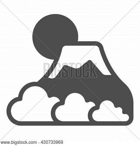 Mount Fuji With Fog, Sun And Snow, Volcano Solid Icon, Asian Culture Concept, Mountain Vector Sign O