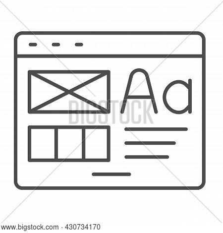 Window With Ready Made Layout Of The Site Thin Line Icon, Web Design Concept, Website Vector Sign On