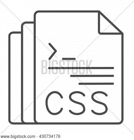 Css Code Document Files Thin Line Icon, Programming Concept, Css Doc Vector Sign On White Background