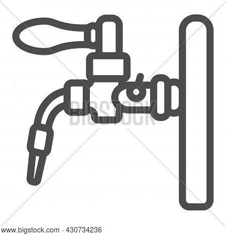 Beer Tap, Beer Dispensing System Line Icon, Brewery Concept, Draft Beer Vector Sign On White Backgro