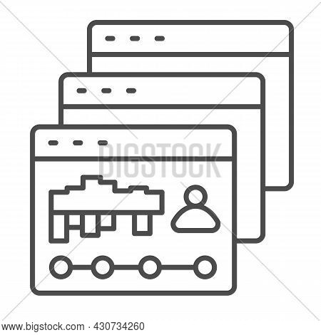Dialog Windows With Site Visits Statistic Thin Line Icon, Web Development Concept, Webpage Vector Si