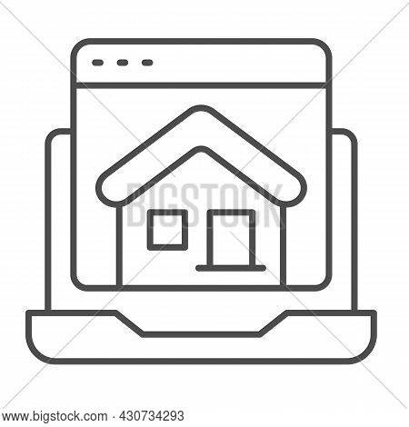 Laptop, Homepage, Computer Window, House, Website Thin Line Icon, Ui Concept, Home Page Vector Sign