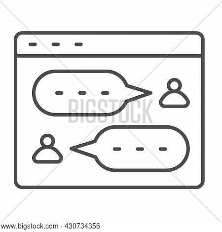 Messenger, Dialog Window, User Chat, Texting Thin Line Icon, Social Network Concept, Sms Vector Sign