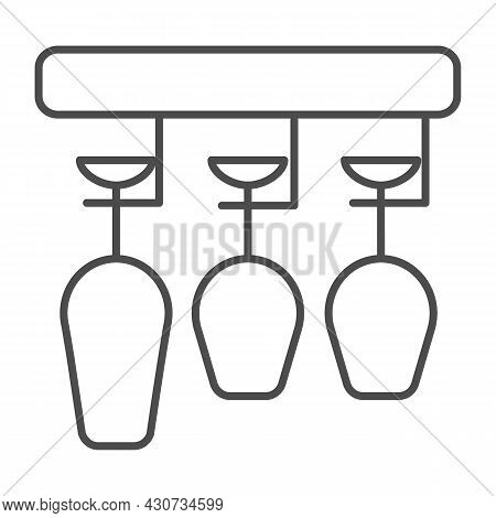 Glasses Hanging In Bar Glass Rack, Holder Thin Line Icon, Catering Concept, Clean Glasses Vector Sig