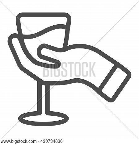Hand With Glass Of Wine Line Icon, Winery Concept, Wineglass In Hand Vector Sign On White Background