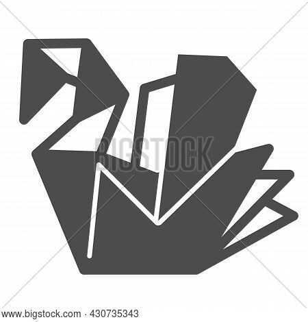 Paper Swan, Origami Solid Icon, Asian Culture Concept, Folded Origami Bird Vector Sign On White Back