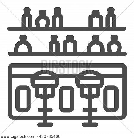 Bar Counter With Stools And Bottles Line Icon, Bars And Pubs Concept, Pub Interrior Vector Sign On W
