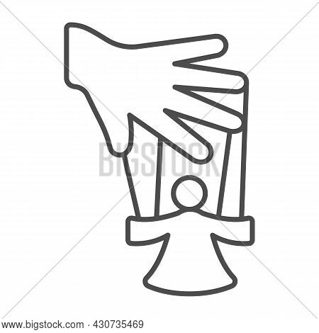 Hand Of The Puppeteer And Marionette Thin Line Icon, Theater Concept, Puppet Theatre Vector Sign On