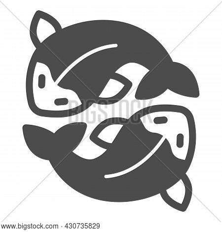 Two Salmon, Fresh Fish, Japanese Koi, Carp Solid Icon, Asian Culture Concept, Goldfish Vector Sign O