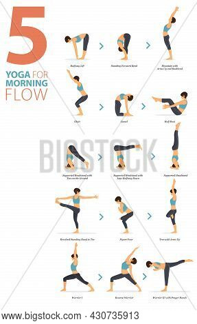 Infographic 5 Yoga Poses For Workout At Home In Concept Of Morning Flow In Flat Design. Women Exerci