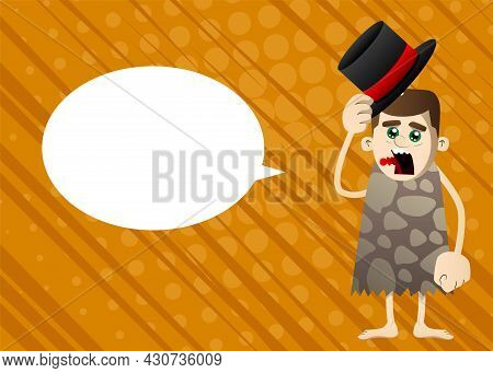 Cartoon Prehistoric Man Tipping His Hat. Vector Illustration Of A Man From The Stone Age.