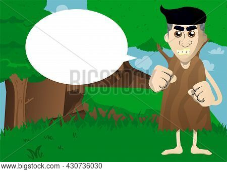 Cartoon Prehistoric Man Holding His Fists In Front Of Him Ready To Fight. Vector Illustration Of A M