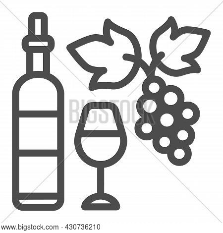 Wine Bottle, Glass And Bunch Of Grapes Line Icon, Winery Concept, Full Wineglass Vector Sign On Whit