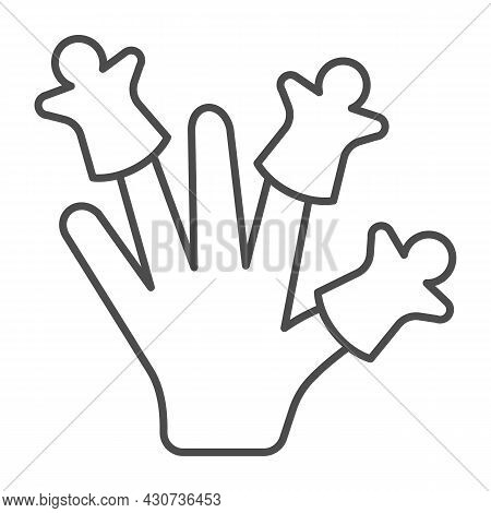 Hand Wearing Finger Puppets Thin Line Icon, Theater Concept, Puppet Theatre Vector Sign On White Bac