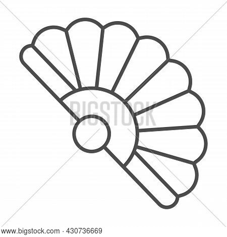 Classic Japanese Folding Fan Thin Line Icon, Theater Concept, Hand Fan Vector Sign On White Backgrou