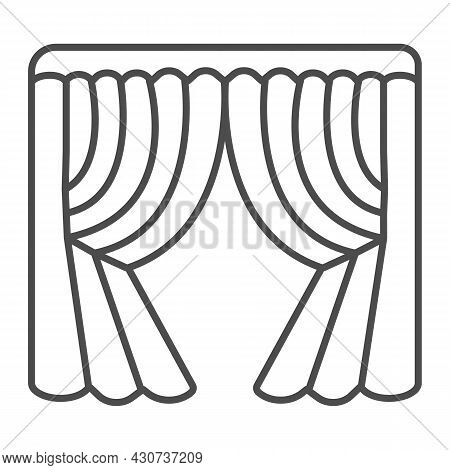 Silk Stage Curtains Thin Line Icon, Theater Concept, Velvet Drapes Vector Sign On White Background,