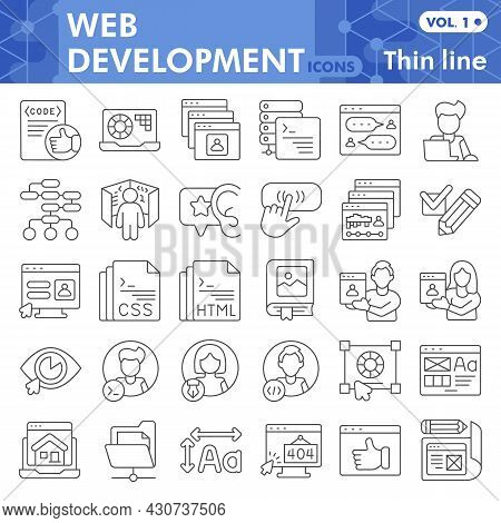 Web Development Line Icon Set, Website Design Symbols Collection Or Sketches. Coding Thin Line With