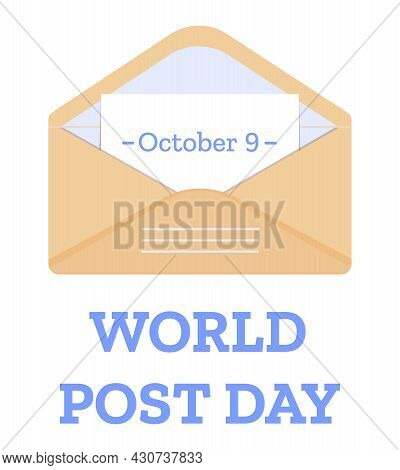 World Post Day 9 October Banner With Open Envelope With Note. Vector Illustration Isolated On White
