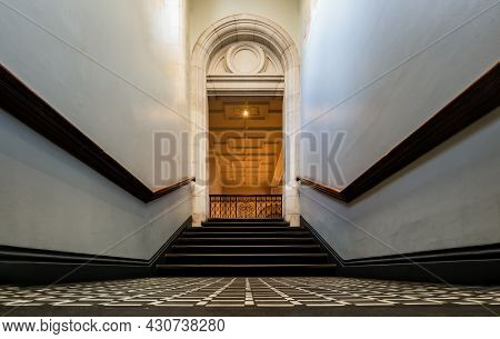 London, United Kingdom - Apr 19, 2019 : Ancient Staircase Of Historical Old Building. Interior Of Th