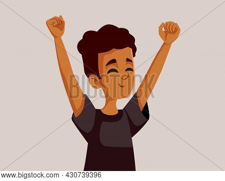 Happy African Teenage Boy Vector Cartoon Illustration