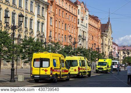St. Petersburg, Russia - July 09, 2021: Ambulance Cars On Street St. Petersburg