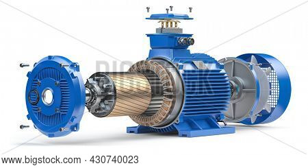 Electric motor parts and structure isolated on white background. 3d illustration