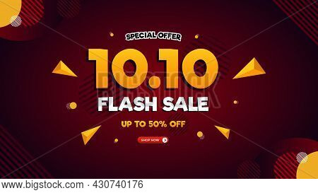 10.10 Flash Sale Banner Template With Red Gradient Background, Special Offer Up To 50% Off