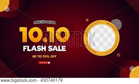 10.10 Flash Sale Banner Template With Circle Frame And Red Gradient Background, Special Offer Up To